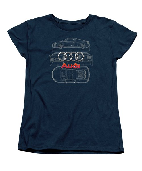 Audi 3 D Badge Over 2016 Audi R 8 Blueprint Women's T-Shirt (Standard Cut) by Serge Averbukh