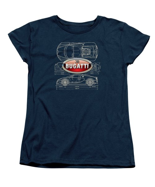 Bugatti 3 D Badge Over Bugatti Veyron Grand Sport Blueprint  Women's T-Shirt (Standard Cut) by Serge Averbukh