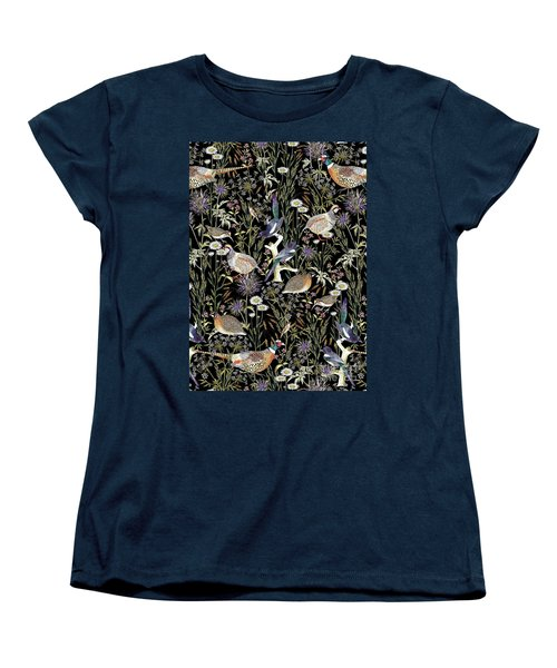Woodland Edge Birds Women's T-Shirt (Standard Cut) by Jacqueline Colley