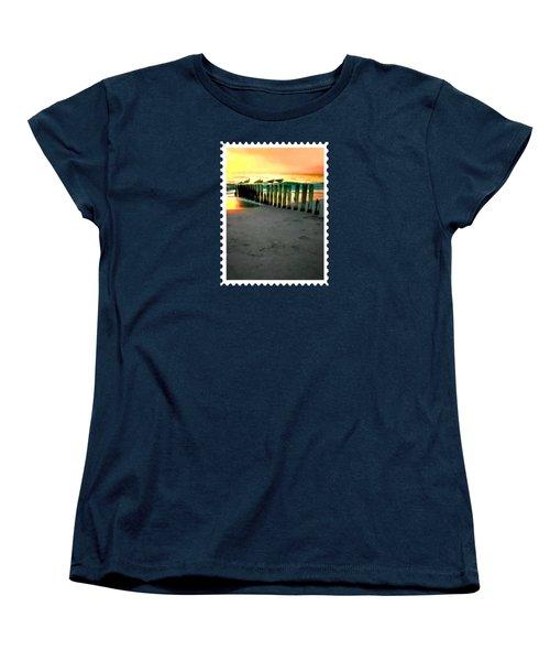 Sea Gulls On Pilings  At Sunset Women's T-Shirt (Standard Cut) by Elaine Plesser