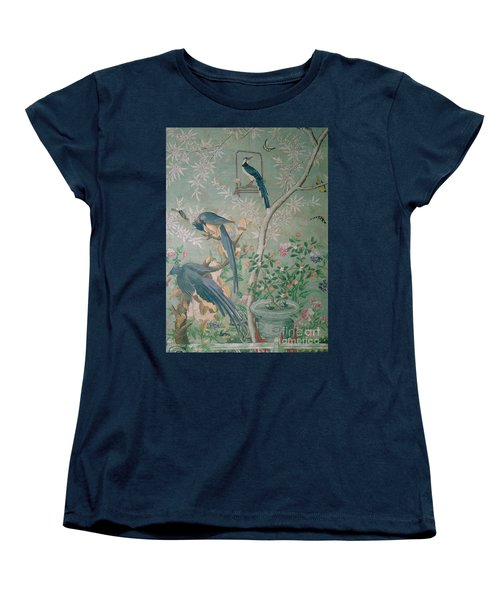 A Pair Of Magpie Jays  Vintage Wallpaper Women's T-Shirt (Standard Cut) by John James Audubon