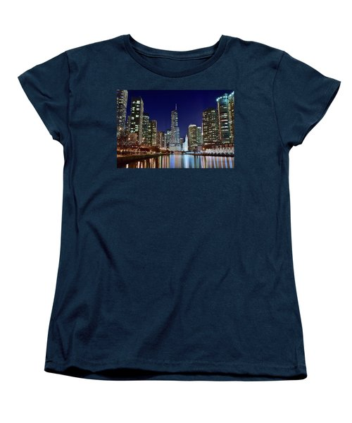A View Down The Chicago River Women's T-Shirt (Standard Cut) by Frozen in Time Fine Art Photography