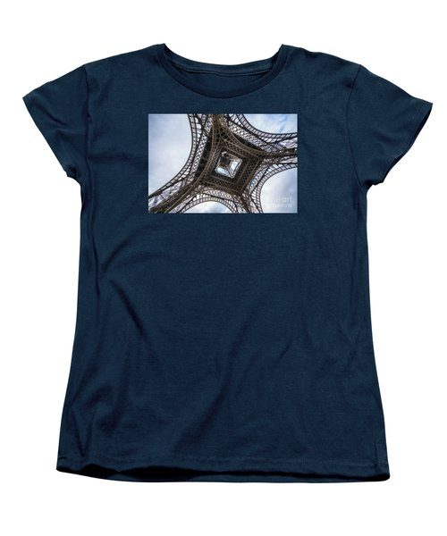 Abstract Eiffel Tower Looking Up 2 Women's T-Shirt (Standard Cut) by Mike Reid
