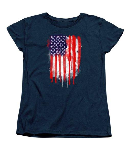 American Spatter Flag Women's T-Shirt (Standard Cut) by Nicklas Gustafsson