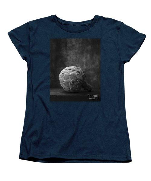 Artichoke Black And White Still Life Women's T-Shirt (Standard Cut) by Edward Fielding