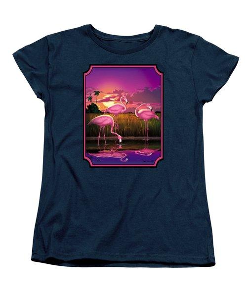 Flamingoes Flamingos Tropical Sunset Landscape Florida Everglades Large Hot Pink Purple Print Women's T-Shirt (Standard Cut) by Walt Curlee
