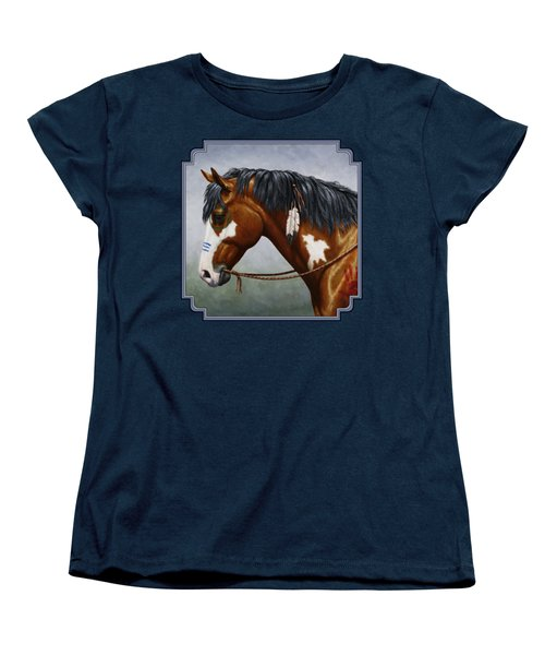 Bay Native American War Horse Women's T-Shirt (Standard Cut) by Crista Forest