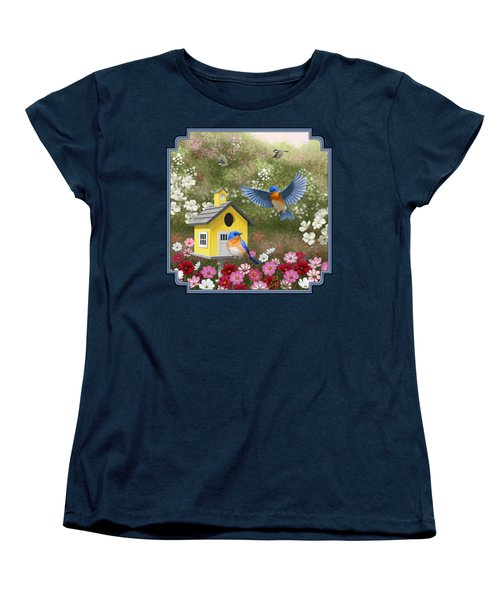 Bluebirds And Yellow Birdhouse Women's T-Shirt (Standard Cut) by Crista Forest