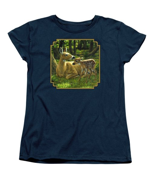 Whitetail Deer - First Spring Women's T-Shirt (Standard Cut) by Crista Forest
