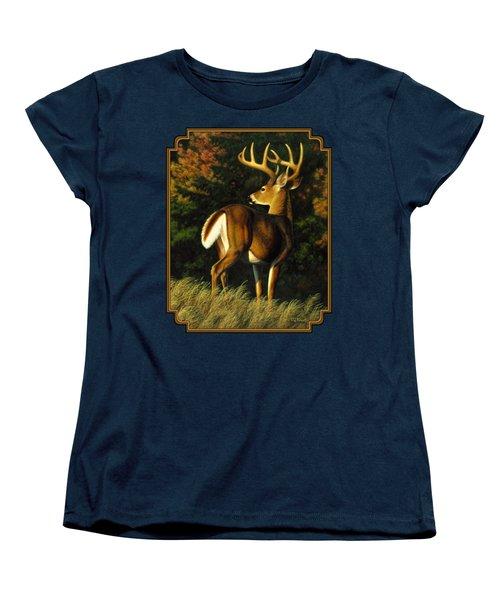 Whitetail Buck - Indecision Women's T-Shirt (Standard Cut) by Crista Forest