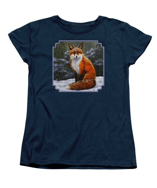 Snow Fox Women's T-Shirt (Standard Cut) by Crista Forest
