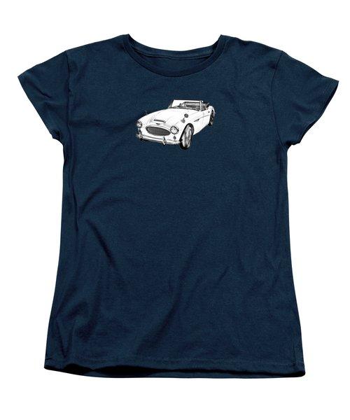 Austin Healey 300 Sports Car Drawing Women's T-Shirt (Standard Cut) by Keith Webber Jr