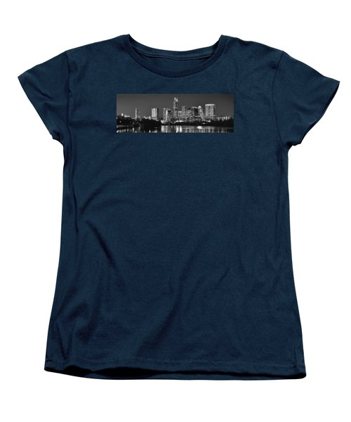 Austin Skyline At Night Black And White Bw Panorama Texas Women's T-Shirt (Standard Cut) by Jon Holiday