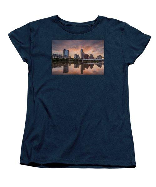 Austin Skyline Sunrise Reflection Women's T-Shirt (Standard Cut) by Todd Aaron