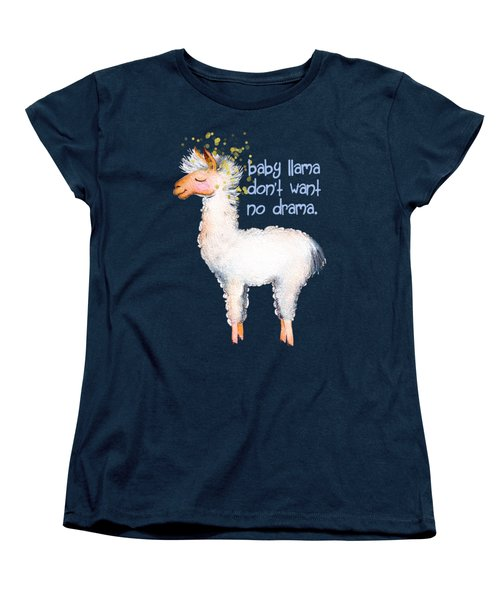Baby Llama Don't Want No Drama Women's T-Shirt (Standard Cut) by Tina Lavoie