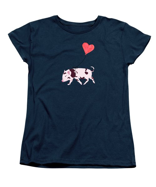 Baby Pig With Heart Balloon Women's T-Shirt (Standard Cut) by Brigitte Carre