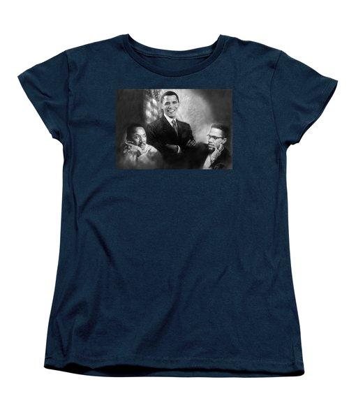 Barack Obama Martin Luther King Jr And Malcolm X Women's T-Shirt (Standard Cut) by Ylli Haruni