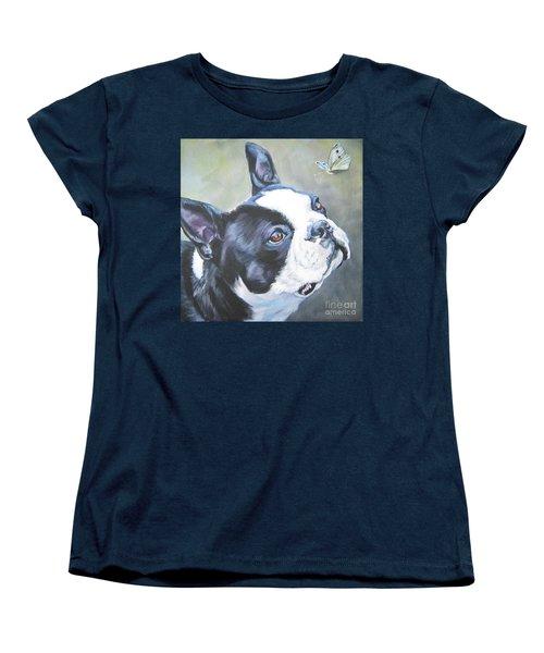 boston Terrier butterfly Women's T-Shirt (Standard Cut) by Lee Ann Shepard