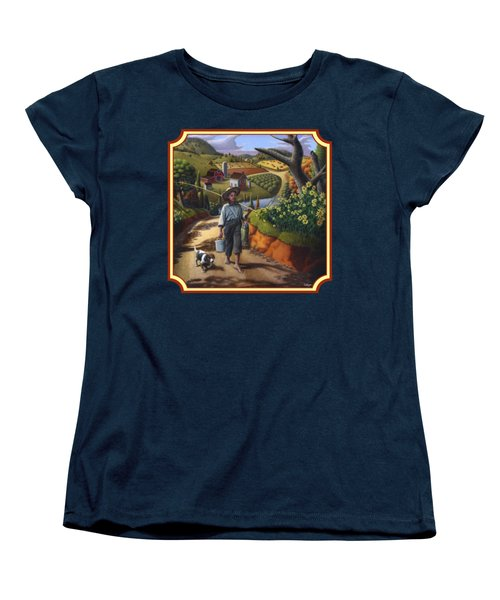 Boy And Dog Country Farm Life Landscape - Square Format Women's T-Shirt (Standard Cut) by Walt Curlee