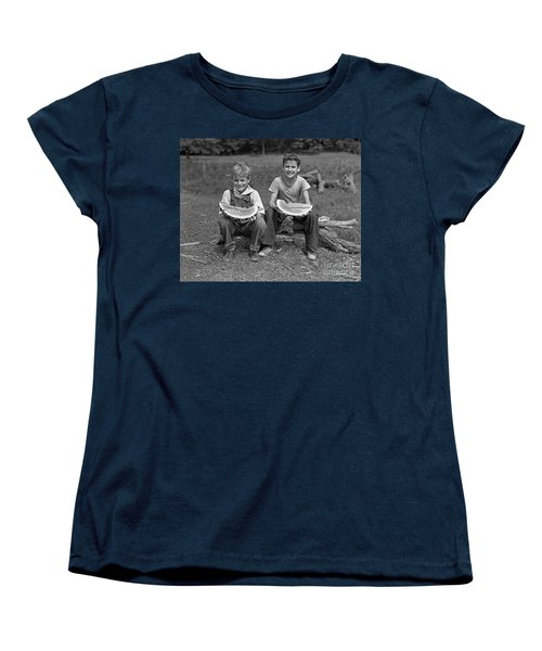 Boys Eating Watermelons, C.1940s Women's T-Shirt (Standard Cut) by H. Armstrong Roberts/ClassicStock