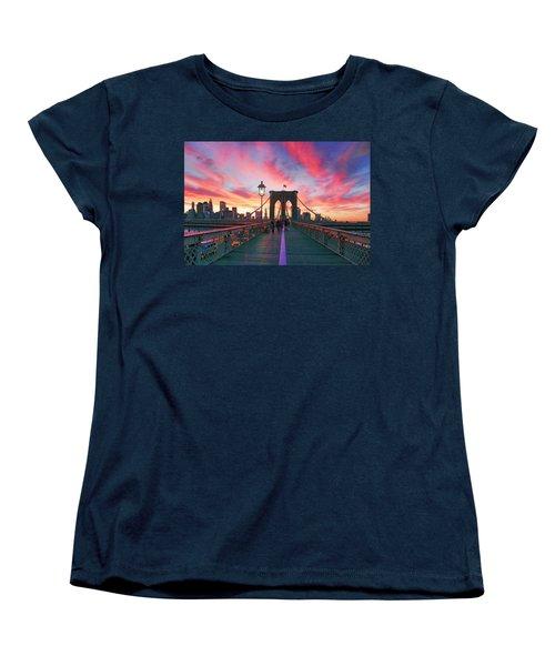 Brooklyn Sunset Women's T-Shirt (Standard Cut) by Rick Berk