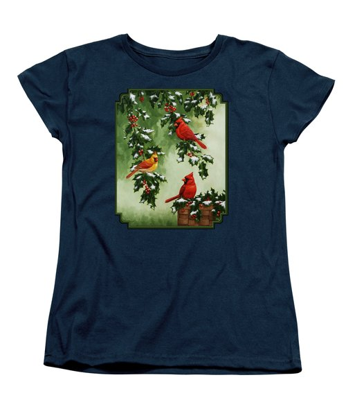Cardinals And Holly - Version With Snow Women's T-Shirt (Standard Cut) by Crista Forest