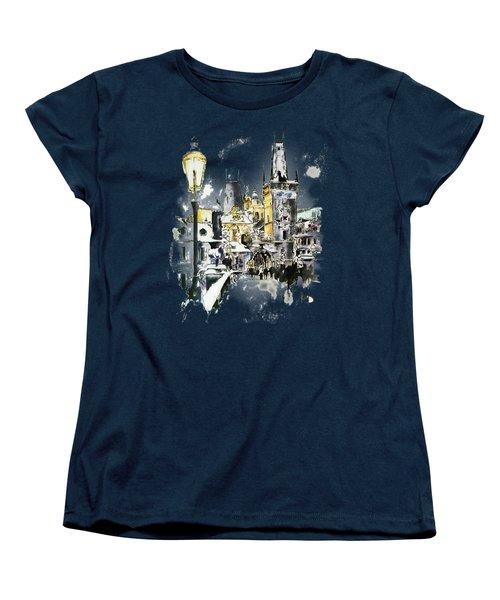Charles Bridge In Winter Women's T-Shirt (Standard Cut) by Melanie D