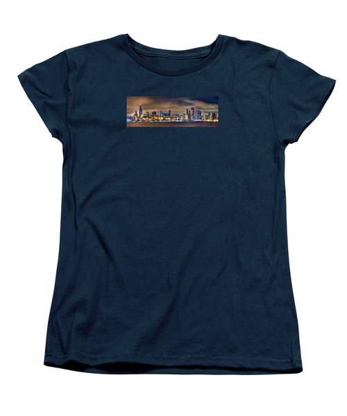 Chicago Skyline At Night Panorama Color 1 To 3 Ratio Women's T-Shirt (Standard Cut) by Jon Holiday