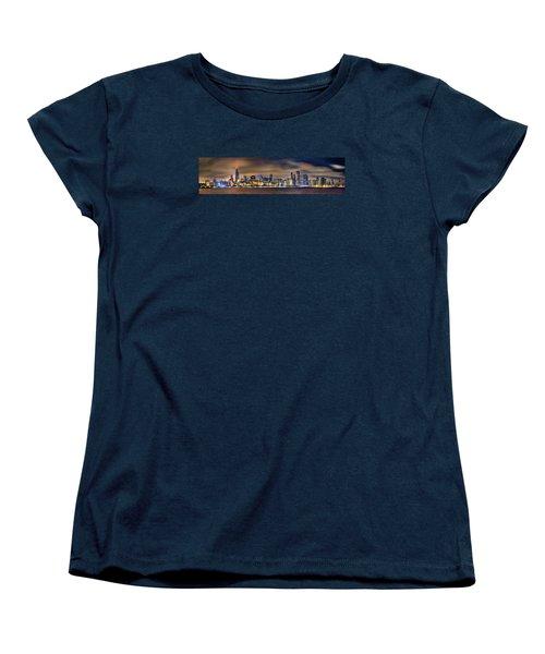 Chicago Skyline At Night Panorama Women's T-Shirt (Standard Cut) by Jon Holiday