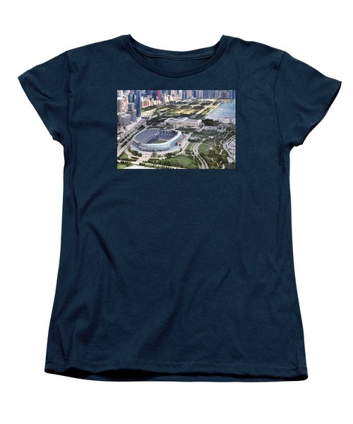 Chicago's Soldier Field Women's T-Shirt (Standard Cut) by Adam Romanowicz