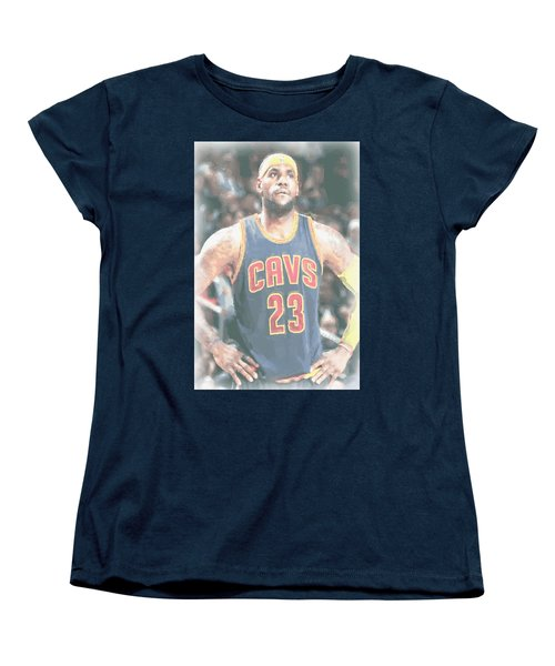 Cleveland Cavaliers Lebron James 5 Women's T-Shirt (Standard Cut) by Joe Hamilton
