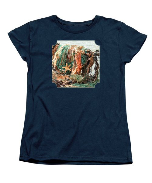 Colorful Catch - Starfish In Fishing Nets Square Women's T-Shirt (Standard Cut) by Gill Billington