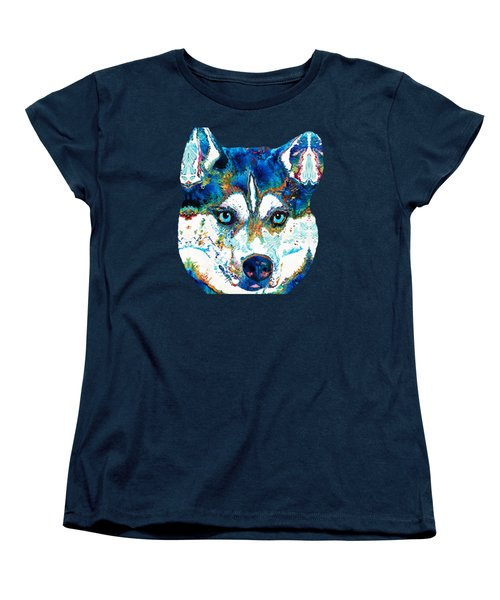 Colorful Husky Dog Art By Sharon Cummings Women's T-Shirt (Standard Cut) by Sharon Cummings