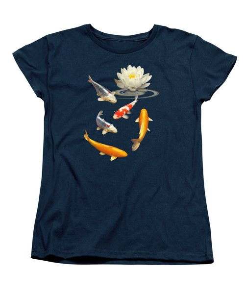 Colorful Koi With Water Lily Women's T-Shirt (Standard Cut) by Gill Billington