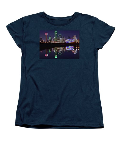 Dallas Reflecting At Night Women's T-Shirt (Standard Cut) by Frozen in Time Fine Art Photography
