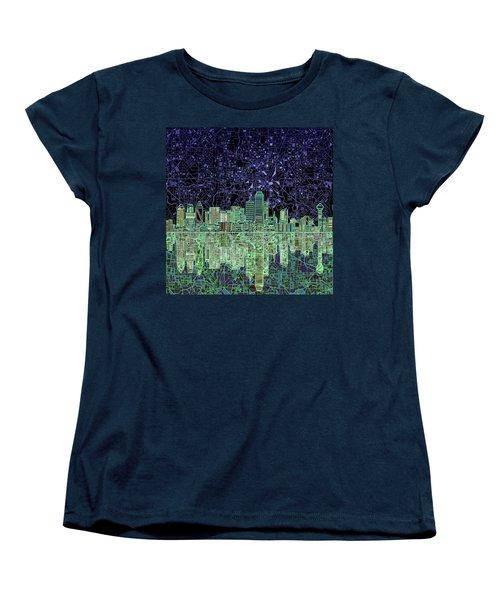 Dallas Skyline Abstract 4 Women's T-Shirt (Standard Cut) by Bekim Art