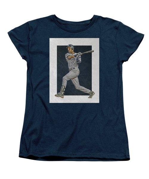 Derek Jeter New York Yankees Art 2 Women's T-Shirt (Standard Cut) by Joe Hamilton
