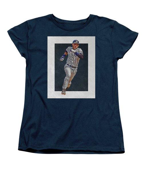 Derek Jeter New York Yankees Art 3 Women's T-Shirt (Standard Cut) by Joe Hamilton