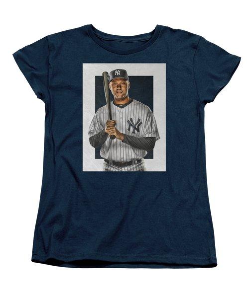 Derek Jeter New York Yankees Art Women's T-Shirt (Standard Cut) by Joe Hamilton