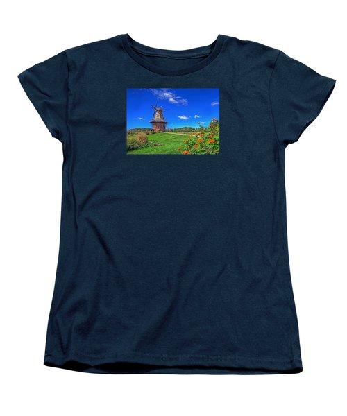 Women's T-Shirt (Standard Cut) featuring the photograph Dutch Windmill by Rodney Campbell