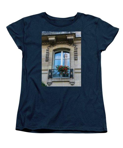 Eiffel Tower Paris Apartment Reflection Women's T-Shirt (Standard Cut) by Mike Reid