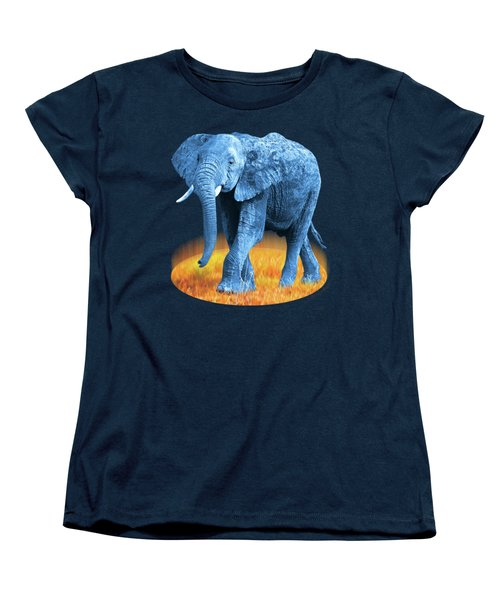 Elephant - World On Fire Women's T-Shirt (Standard Cut) by Gill Billington