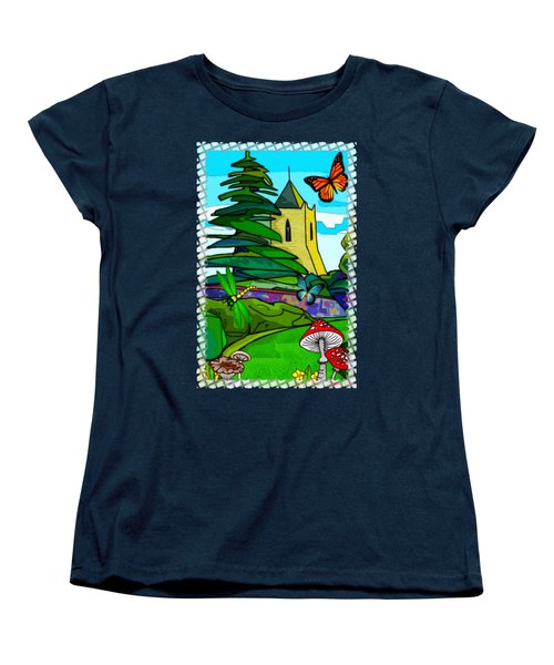 English Garden Whimsical Folk Art Women's T-Shirt (Standard Cut) by Sharon and Renee Lozen
