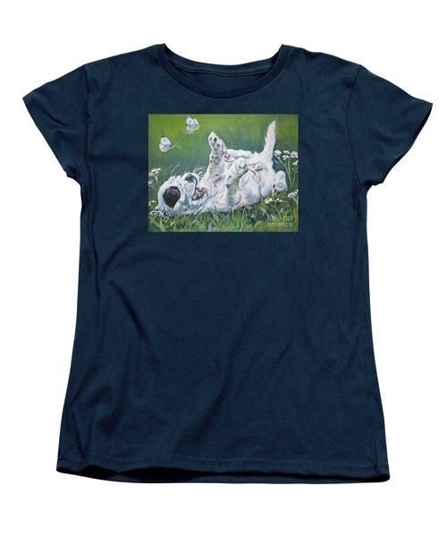 English Setter Puppy And Butterflies Women's T-Shirt (Standard Cut) by Lee Ann Shepard