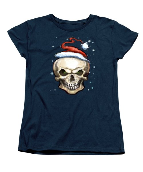 Evil Christmas Skull Women's T-Shirt (Standard Cut) by Kevin Middleton