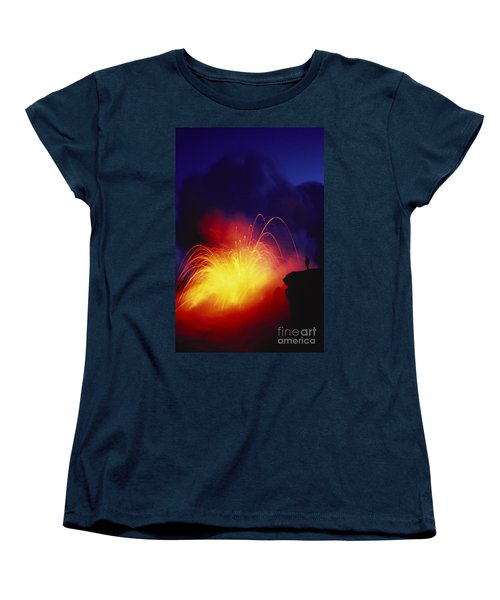 Exploding Lava And Person Women's T-Shirt (Standard Cut) by Greg Vaughn - Printscapes