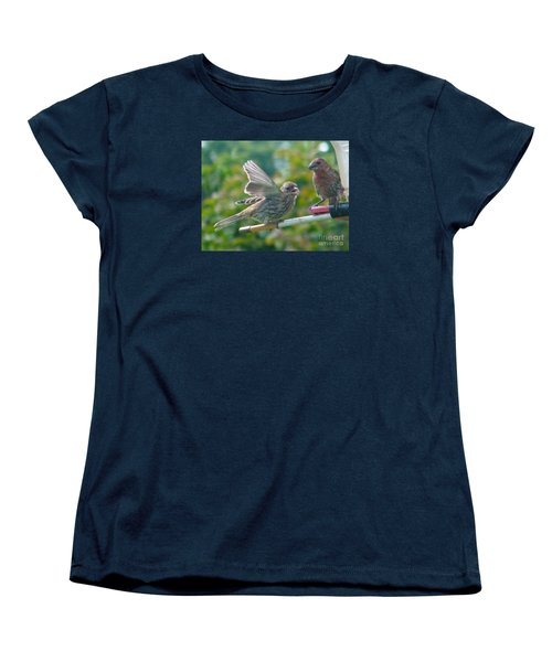 Female And Male Crossbills    August  Indiana Women's T-Shirt (Standard Cut) by Rory Cubel
