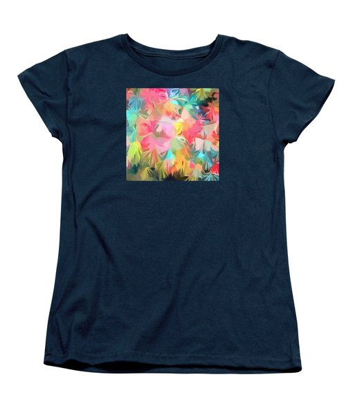 Fireworks Floral Abstract Square Women's T-Shirt (Standard Cut) by Edward Fielding