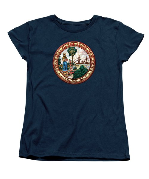 Florida State Seal Over Blue Velvet Women's T-Shirt (Standard Cut) by Serge Averbukh