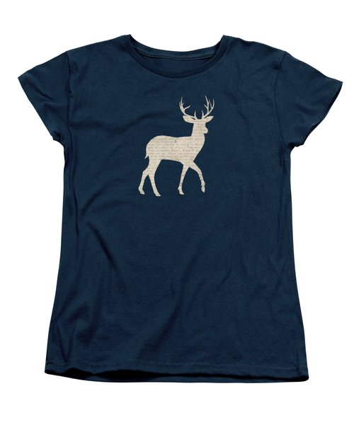 French Script Stag Women's T-Shirt (Standard Cut) by Amanda  Lakey